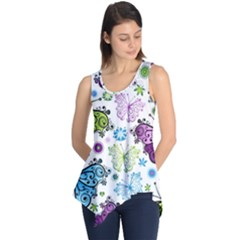 Butterfly Animals Fly Purple Green Blue Polkadot Flower Floral Star Sleeveless Tunic by Mariart