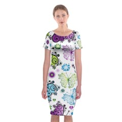 Butterfly Animals Fly Purple Green Blue Polkadot Flower Floral Star Classic Short Sleeve Midi Dress by Mariart