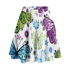 Butterfly Animals Fly Purple Green Blue Polkadot Flower Floral Star High Waist Skirt by Mariart