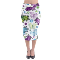 Butterfly Animals Fly Purple Green Blue Polkadot Flower Floral Star Midi Pencil Skirt