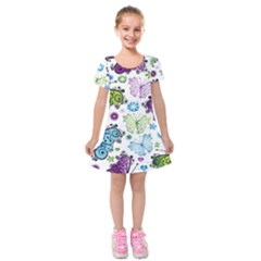 Butterfly Animals Fly Purple Green Blue Polkadot Flower Floral Star Kids  Short Sleeve Velvet Dress by Mariart