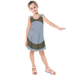 Circle Round Grey Blue Kids  Sleeveless Dress by Mariart
