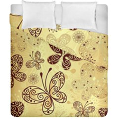 Butterfly Animals Fly Purple Gold Polkadot Flower Floral Star Sunflower Duvet Cover Double Side (california King Size) by Mariart