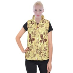 Butterfly Animals Fly Purple Gold Polkadot Flower Floral Star Sunflower Women s Button Up Puffer Vest by Mariart