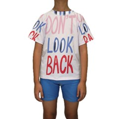 Don t Look Back Big Eye Pink Red Blue Sexy Kids  Short Sleeve Swimwear by Mariart