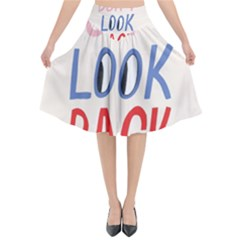 Don t Look Back Big Eye Pink Red Blue Sexy Flared Midi Skirt