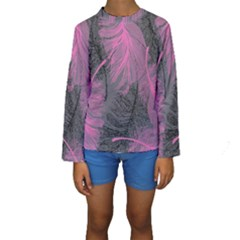Feathers Quill Pink Grey Kids  Long Sleeve Swimwear