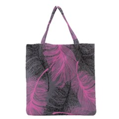 Feathers Quill Pink Grey Grocery Tote Bag by Mariart