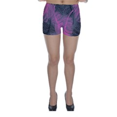 Feathers Quill Pink Grey Skinny Shorts by Mariart