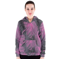 Feathers Quill Pink Grey Women s Zipper Hoodie