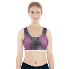 Feathers Quill Pink Grey Sports Bra With Pocket by Mariart