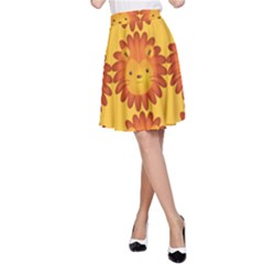 Cute Lion Face Orange Yellow Animals A Line Skirt