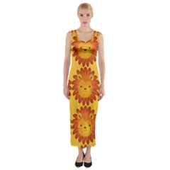 Cute Lion Face Orange Yellow Animals Fitted Maxi Dress