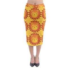 Cute Lion Face Orange Yellow Animals Midi Pencil Skirt
