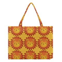 Cute Lion Face Orange Yellow Animals Medium Tote Bag by Mariart