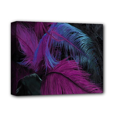 Feathers Quill Pink Black Blue Deluxe Canvas 14  X 11  by Mariart
