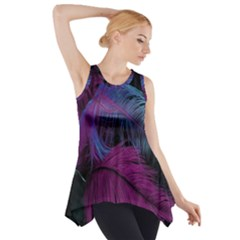 Feathers Quill Pink Black Blue Side Drop Tank Tunic