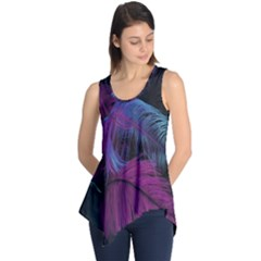 Feathers Quill Pink Black Blue Sleeveless Tunic by Mariart