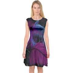 Feathers Quill Pink Black Blue Capsleeve Midi Dress by Mariart