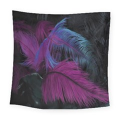 Feathers Quill Pink Black Blue Square Tapestry (large) by Mariart