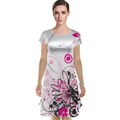 Wreaths Frame Flower Floral Pink Black Cap Sleeve Nightdress