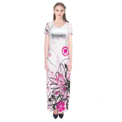 Wreaths Frame Flower Floral Pink Black Short Sleeve Maxi Dress
