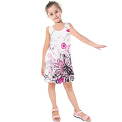 Wreaths Frame Flower Floral Pink Black Kids  Sleeveless Dress by Mariart