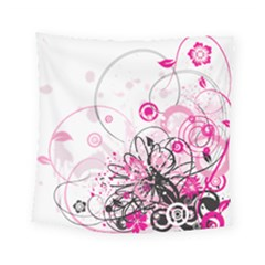 Wreaths Frame Flower Floral Pink Black Square Tapestry (small) by Mariart