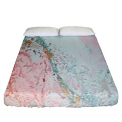 Geode Crystal Pink Blue Fitted Sheet (queen Size) by Mariart
