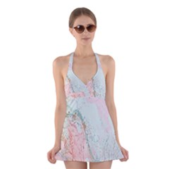 Geode Crystal Pink Blue Halter Swimsuit Dress by Mariart