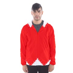 Heart Rhythm Inner Red Hooded Wind Breaker (men) by Mariart