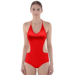 Heart Rhythm Inner Red Cut-out One Piece Swimsuit by Mariart