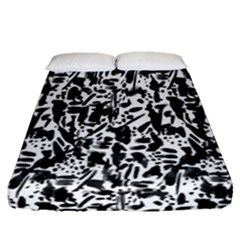 Deskjet Ink Splatter Black Spot Fitted Sheet (queen Size) by Mariart