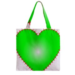 Heart Rhythm Inner Green Red Zipper Grocery Tote Bag by Mariart