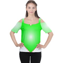 Heart Rhythm Inner Green Red Women s Cutout Shoulder Tee by Mariart