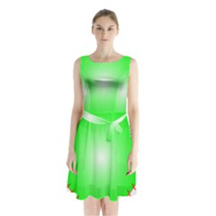 Heart Rhythm Inner Green Red Sleeveless Waist Tie Chiffon Dress by Mariart
