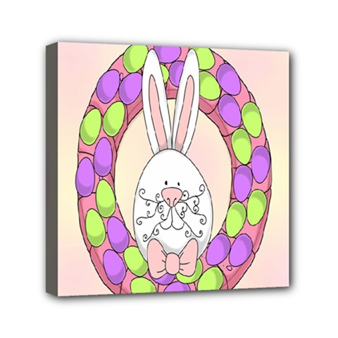 Make An Easter Egg Wreath Rabbit Face Cute Pink White Mini Canvas 6  X 6  by Mariart