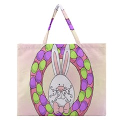 Make An Easter Egg Wreath Rabbit Face Cute Pink White Zipper Large Tote Bag by Mariart