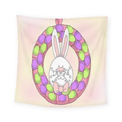 Make An Easter Egg Wreath Rabbit Face Cute Pink White Square Tapestry (small) by Mariart