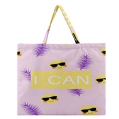 I Can Purple Face Smile Mask Tree Yellow Zipper Large Tote Bag by Mariart