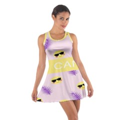 I Can Purple Face Smile Mask Tree Yellow Cotton Racerback Dress by Mariart
