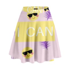 I Can Purple Face Smile Mask Tree Yellow High Waist Skirt by Mariart