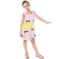 I Can Purple Face Smile Mask Tree Yellow Kids  Sleeveless Dress by Mariart