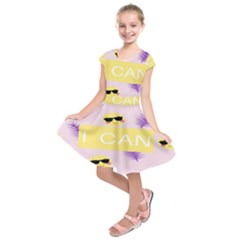 I Can Purple Face Smile Mask Tree Yellow Kids  Short Sleeve Dress by Mariart