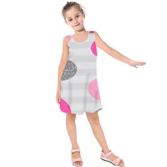 Polkadot Circle Round Line Red Pink Grey Diamond Kids  Sleeveless Dress by Mariart
