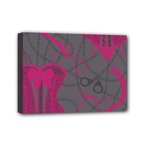 Pink Black Handcuffs Key Iron Love Grey Mask Sexy Mini Canvas 7  X 5  by Mariart