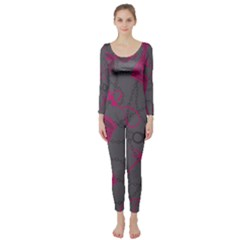 Pink Black Handcuffs Key Iron Love Grey Mask Sexy Long Sleeve Catsuit by Mariart