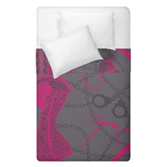 Pink Black Handcuffs Key Iron Love Grey Mask Sexy Duvet Cover Double Side (single Size) by Mariart
