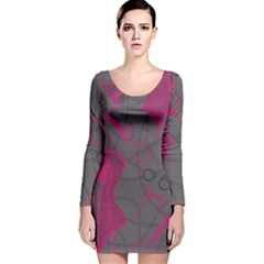 Pink Black Handcuffs Key Iron Love Grey Mask Sexy Long Sleeve Velvet Bodycon Dress