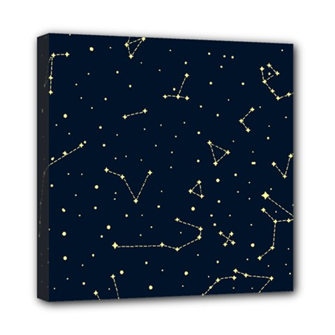 Star Zodiak Space Circle Sky Line Light Blue Yellow Mini Canvas 8  X 8  by Mariart